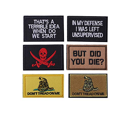 Harsgs Don't Tread On Me But Did You Die Embroidered Hook & Loop Tactical Morale Patches for Caps Bags Vests Military Uniforms