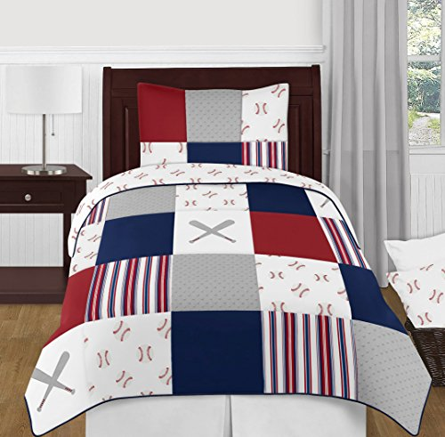 Sweet Jojo Designs Red, White and Blue Baseball Patch Sports Boy Twin Kid Childrens Bedding Comforter Set - 4 Pieces - Grey Patchwork Stripe