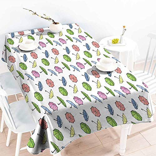 Onefzc Anti-Fading Tablecloths,Umbrella Cartoon Style Umbrella in Cute Autumn Theme Rainy Weather Doodle,Table Cover for Dining,W52x70L Multicolor