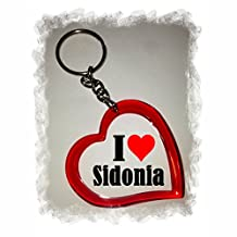 """Exclusive Gift Idea: Heart Keyring """"I Love Sidonia"""", a Great gift that comes from the Heart - Backpack pendant - love pendant - Keychains- Keyring- Christmas Gift"""