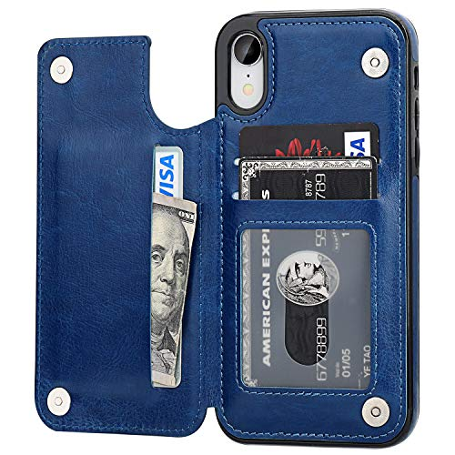 OT ONETOP iPhone XR Wallet Case with Card Holder, Premium PU Leather Kickstand Card Slots Case,Double Magnetic Clasp and Durable Shockproof Cover for iPhone XR 6.1 Inch(Blue)