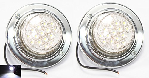 Pair Enhanced Clear White Round Broad Range Back up Reverse LED Light Truck Trailer