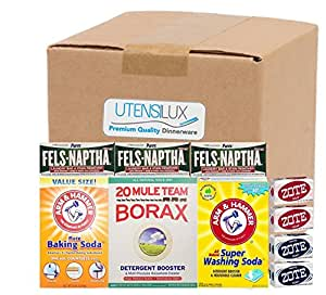 Utensilux Laundry Soap Kit - Fels Naptha 3 bars, 20 Mule Team Borax Natural Laundry Booster, Baking Soda, Super Washing Soda, 2 Zote White Laundry Soap Bar & 2 Zote Pink Laundry Soap Bar