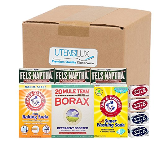 Utensilux Laundry Soap Kit - Fels Naptha 3 Bars, 20 Mule Team Borax Natural Laundry Booster, Baking Soda, Super Washing Soda, 2 Zote White Laundry Soap Bar & 2 Zote Pink Laundry Soap Bar (Homemade Laundry Soap With Borax And Washing Soda)