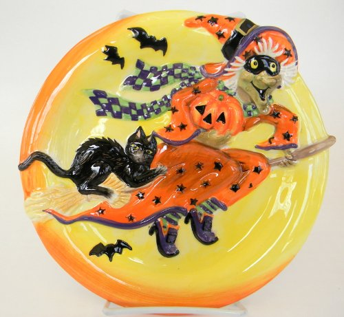"Fitz And Floyd Witch Hazel Appetizer Plate 9"" Halloween"
