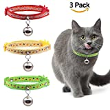 JIATECCO 3 Pack Cat Collars Set Breakaway with Big