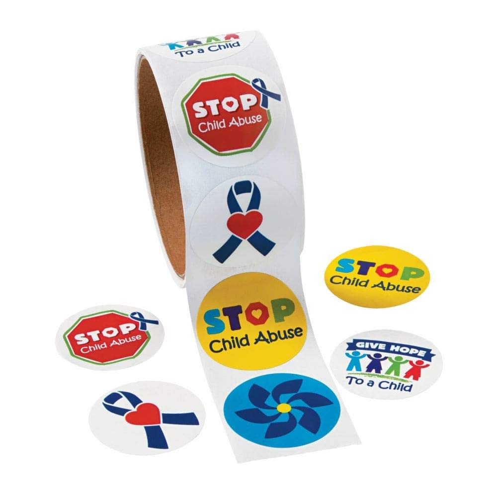 Child Abuse Awareness Stickers ~ 1 Roll ~ 100 Round 1.5 Paper Stickers Total ~ New Shrink-wrapped FX SG/_B0145R253S/_US