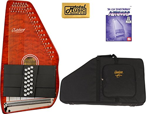 Oscar Schmidt 21 Chord Classic Autoharp, Quilted Maple Top, Trans Red, OS12CQTR by Oscar Schmidt
