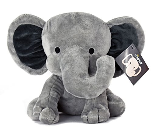 (KINREX Stuffed Elephant Animal Plush - Toys for Baby, Boy, Girls - Great for Nursery, Room Decor, Bed - Grey - Measures 9 Inches)