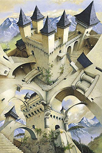 Laminated Castle of Illusion by Irvine Peacock Fantasy Art Poster - Art Fantasy Castle