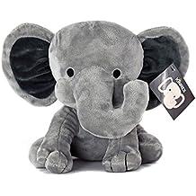 KINREX Elephant Plush - Measures 9 Inches - Grey - Stuffed Animal - Baby Toy