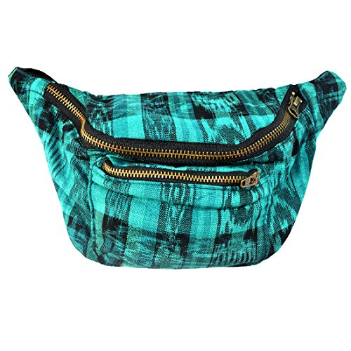 Mayan Costume Black Flag (Native Tribal Fanny Pack, Boho Chic, Eco Woven & Handmade in Guatemala by Santa Playa (Tropical Lime))