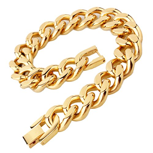 15mm Heavy Men's Stainless Steel Link Curb Cuban Chain Bracelet Bangle 7-11inch(8.5 inches,Gold) ()