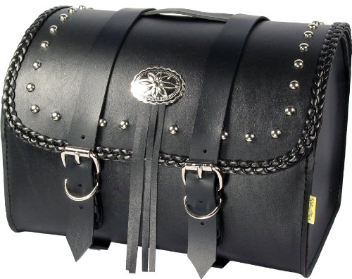 Dowco Willie & Max 58512-01 Warrior Series: Synthetic Leather Motorcycle Max Pax Tour Trunk, Black, Universal Fit, 20 Liter Capacity ()