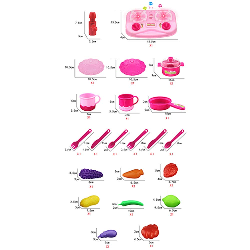 Studyset 22PCS/Set Children Simulation Kitchen Cooking Toy Set with Sound & Light Kitchen Educational Toy Play House Toys Pink