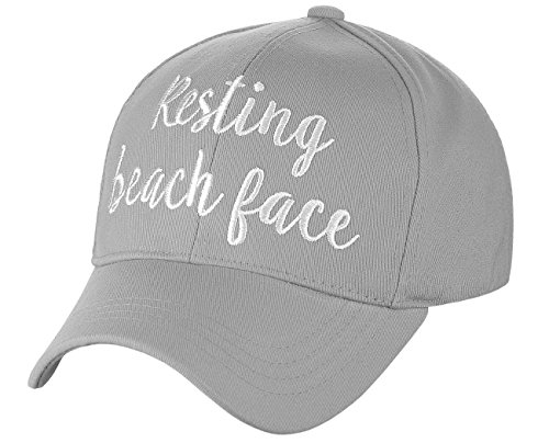 C.C Women's Embroidered Quote Adjustable Cotton Baseball Cap, Resting Beach Face, Gray