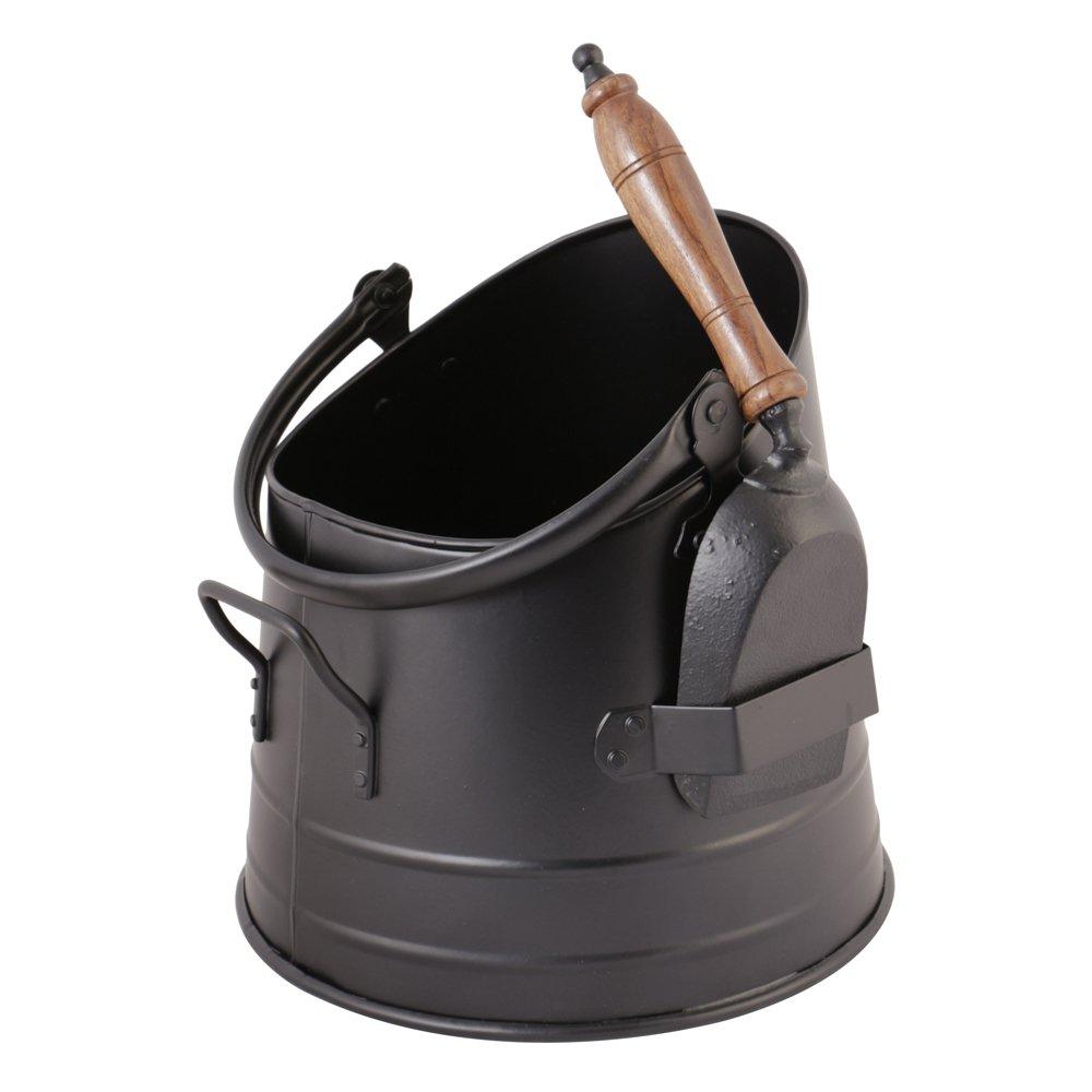 Matte Black Fireside Charcoal and Briquette Scuttle Hod Bucket