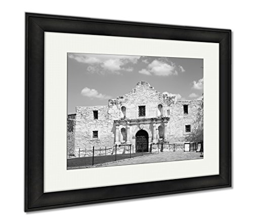 Ashley Framed Prints Entrance To Alamo In San Antonio Texas Us, Wall Art Home Decoration, Black/White, 26x30 (frame size), Black Frame, - Of The Texas San In Pictures Alamo Antonio