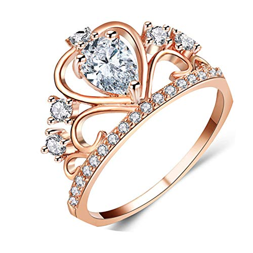 Fashion Princess Queen Crown Engagement Rings with Clear CZ Cubic Zirconia Crystal Rings Rose Gold Color ()