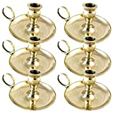 Biedermann & Sons Small Brass Chamberstick Candle Holders, Box of 6