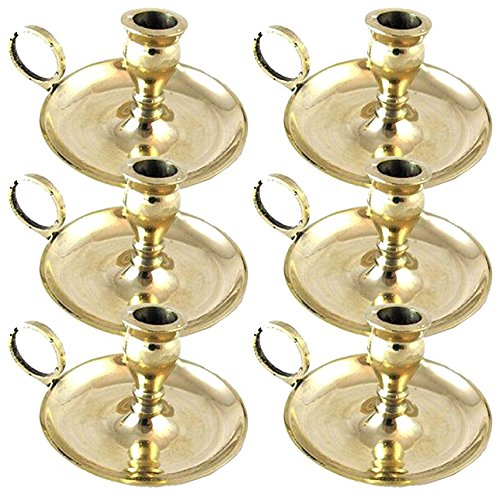 Biedermann & Sons Small Brass Chamberstick Candle Holders (½-inch diameter), Box of 6
