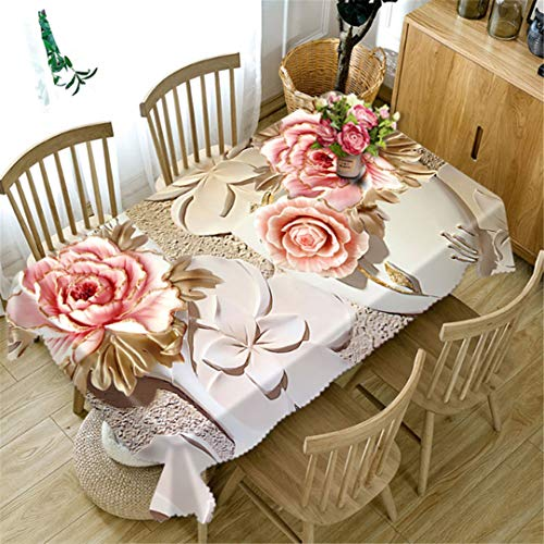 (3D Wedding Purple Tablecloth Bouquet Table Table Cloth Christmas Tree Table Cloth Birthday Party Dinner For Pink peony 228x396 cm)