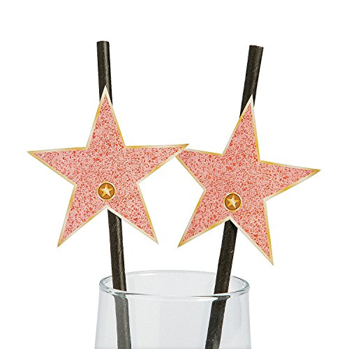 Movie Night Walk of Fame Star Paper Straws - 7 3/4