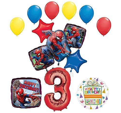 Mayflower Products The Ultimate Spider-Man 3rd Birthday Party Supplies and Balloon Decorations -
