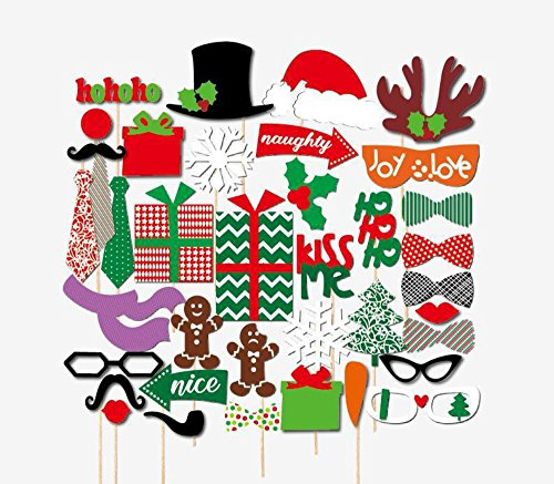 [Christmas Gift 39 pcs Set Photo Props Christmas Hat Snowflake Beard Lips, Best Choice for Party] (Cute Halloween Printouts)