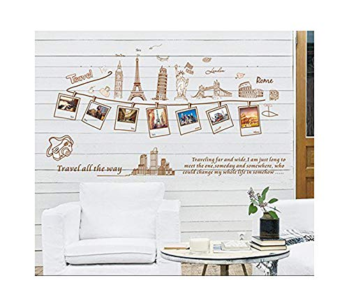 Alrens_DIY(TM) World Tour Photo Frame Album Travel All The Way DIY Eco-friendly PVC Vinyl Bedroom Wall Sticker Removable Home Decoration Kids Nursery Room Mural Living Room Decorative Decal ()