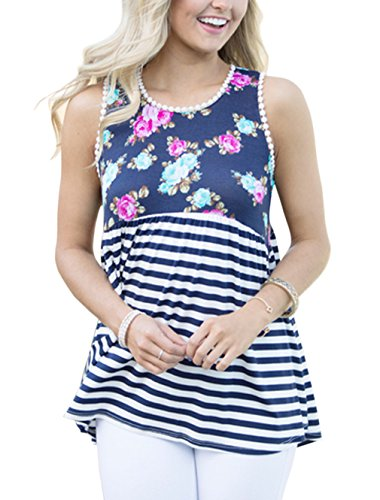 RAISEVERN Women Floral Print Sleeveless Tunic Tank Top With Lace Trim