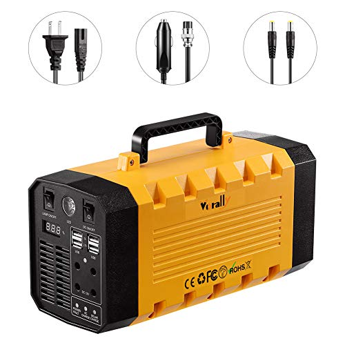 (Vorally Portable Generator Power Station 173Wh 300W Rechargeable Lithium Battery Pack Solar Generator with LED Lights Backup Power Supply for Camping Home Emergency (12V 15Ah 173WH/300W))