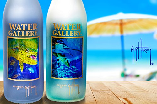 ... Edición limitada Guy Harvey arte español Sailfish botella de vidrio - swing - Tapones para botellas de cristal con parte superior botellas decorado oro ...