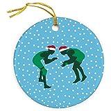 ChalkTalkSPORTS Silhouette With Santa Hat Christmas Ornament | Wrestling Porcelain Ornaments