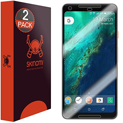 Price comparison product image Google Pixel 2 XL Screen Protector (Maximum Coverage)[2-Pack], Skinomi TechSkin Full Coverage Screen Protector for Google Pixel 2 XL Clear HD Anti-Bubble Film