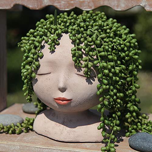 YIKUSH Female Head Design Succulents Plant Pot/Cactus Planter Indoor Outdoor Resin Planter, Cute Plants Flower Pot,No Plant