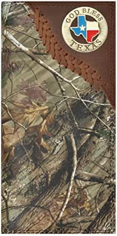 Custom Badger God Bless Texas Long Checkbook Realtree AP Camo Wallet