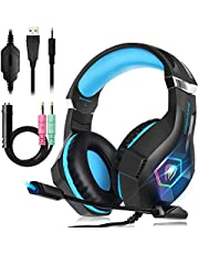 Beexcellent Gaming Headset for PS4/PC/XboxOne/Headphone With Mic Control Volume 3.5mm Jack Noise Reduction Stereo Sound Soft Earmuffs LED Lights Vary In Color