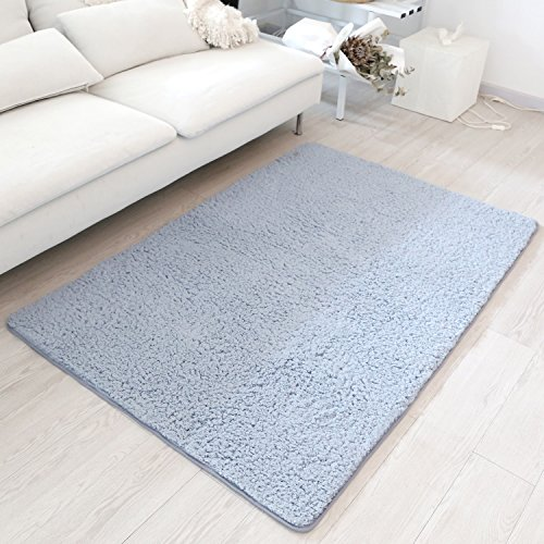 Soft Modern Shag Area Rug for Kid, Smooth Carpet Floor Mat (Bluish Grey) (Kids Shag Rugs)