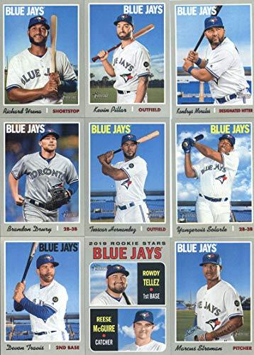 2019 Topps Heritage Baseball Toronto Blue Jays Team Set of 13 Cards: Russell Martin(#19), Randal Grichuk(#38), Ken Giles(#87), Rowdy Tellez/Reese McGuire(#109), Marcus Stroman(#124), Yangervis Solarte(#147), Devon Travis(#193), Kendrys Morales(#221), Brandon Drury(#238), Richard Urena(#243), Kevin Pillar(#293), Ryan Borucki/Danny Jansen/Sean Reid-Foley(#376), Teoscar Hernandez(#398)