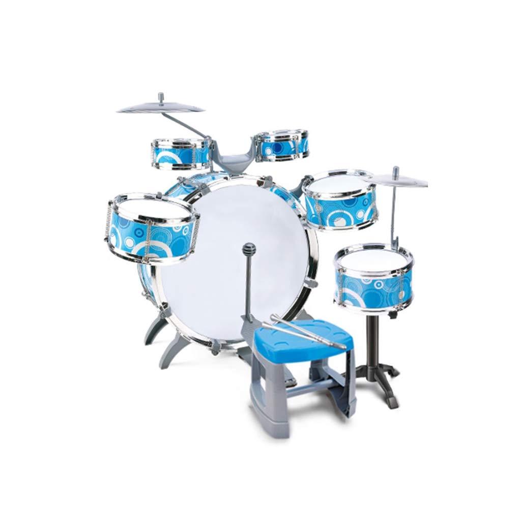 LIUFS-Trommel Kindertrommeln Kindertrommeln Kindertrommeln Anfänger Musikinstrumente Schlagzeug 3-6 Jahre alt Lernspielzeug groß (Farbe   Sky Blau-With guitar) 23e9f9