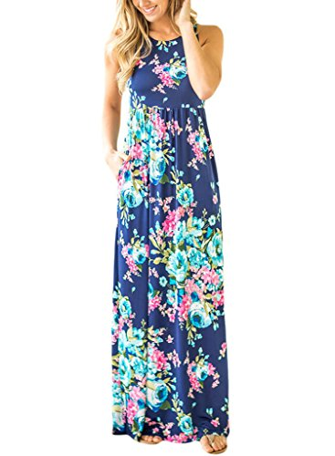 Lovezesent Women's Floral Print Round Neck Sleeveless Long Maxi Casual Dresses Medium Blue - Gray Floral Dress