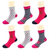 Crew Socks for Girls, Toddler Big Little Kids' Cotton Socks with Fashion Novelty Love Hearts, Polka Dots, Stripes - 6 Pairs