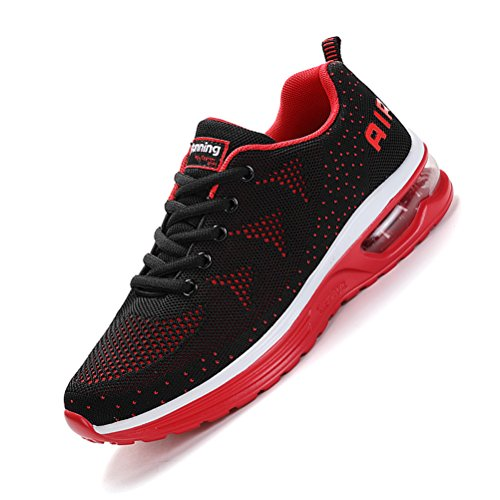 Running Shoes Sneakers for Men Mens Fashion Sports Outdoor Air Cushion Athletic Shoes Trainer Shoe Black Red