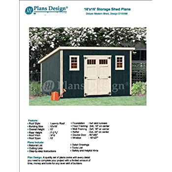 10 X 16 Deluxe Shed Plans Modern Roof Style Design D1016m