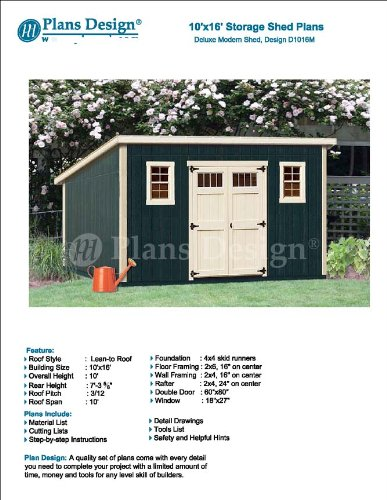 10' x 16' Deluxe Shed Plans, Modern Roof Style Design #D1016M, Material List and Step By Step Included by Plans Design