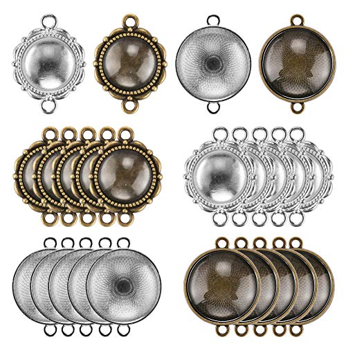 Accmor 20 Pcs Bracelet Blanks with 20 Pcs Glass Cabochon, Round Connector Charms Bracelet Connector Round Pendant Trays Cameo Bezel Settings Photo Jewelry for Crafting DIY Jewelry Making -
