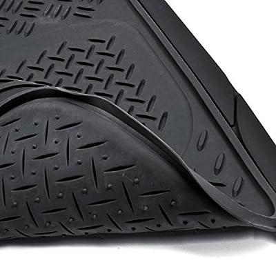 BDK Heavy Duty VAN SUV Rubber Floor Mats - 4 Pieces 3 Rows Full Set - All Weather Trimmable Mat (Black) - MT-713-711-BK: Automotive