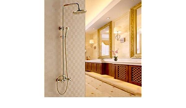 Sola manija de válvula de cerámica para Agua fría y Caliente SADASD Grifo de Lavabo de Cobre bañado en Oro de la Marca con Manguera G1/2