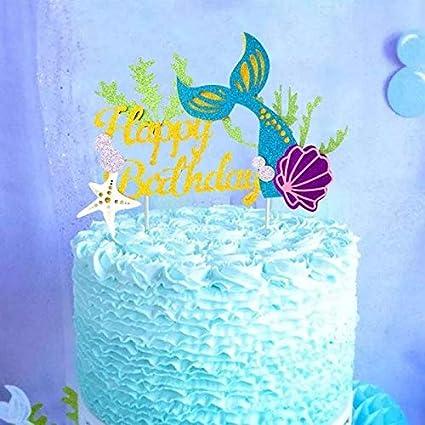 Amazon Astra Gourmet Glitter Mermaid Happy Birthday Cake Topper